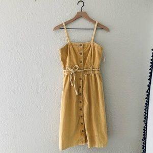 Vintage Cotton Button Front Corduroy Dress
